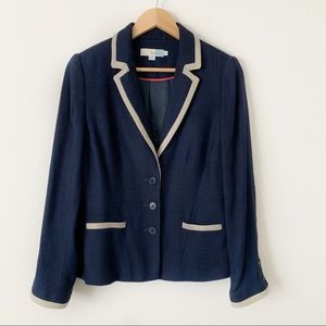 Boden Blazer Navy Tan Trim